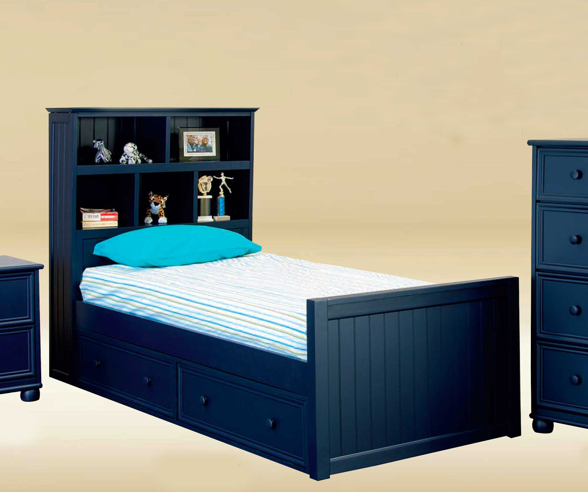 Picture of: Gavin Extra Long Twin Bookcase Bed With 2 Storage Drawers
