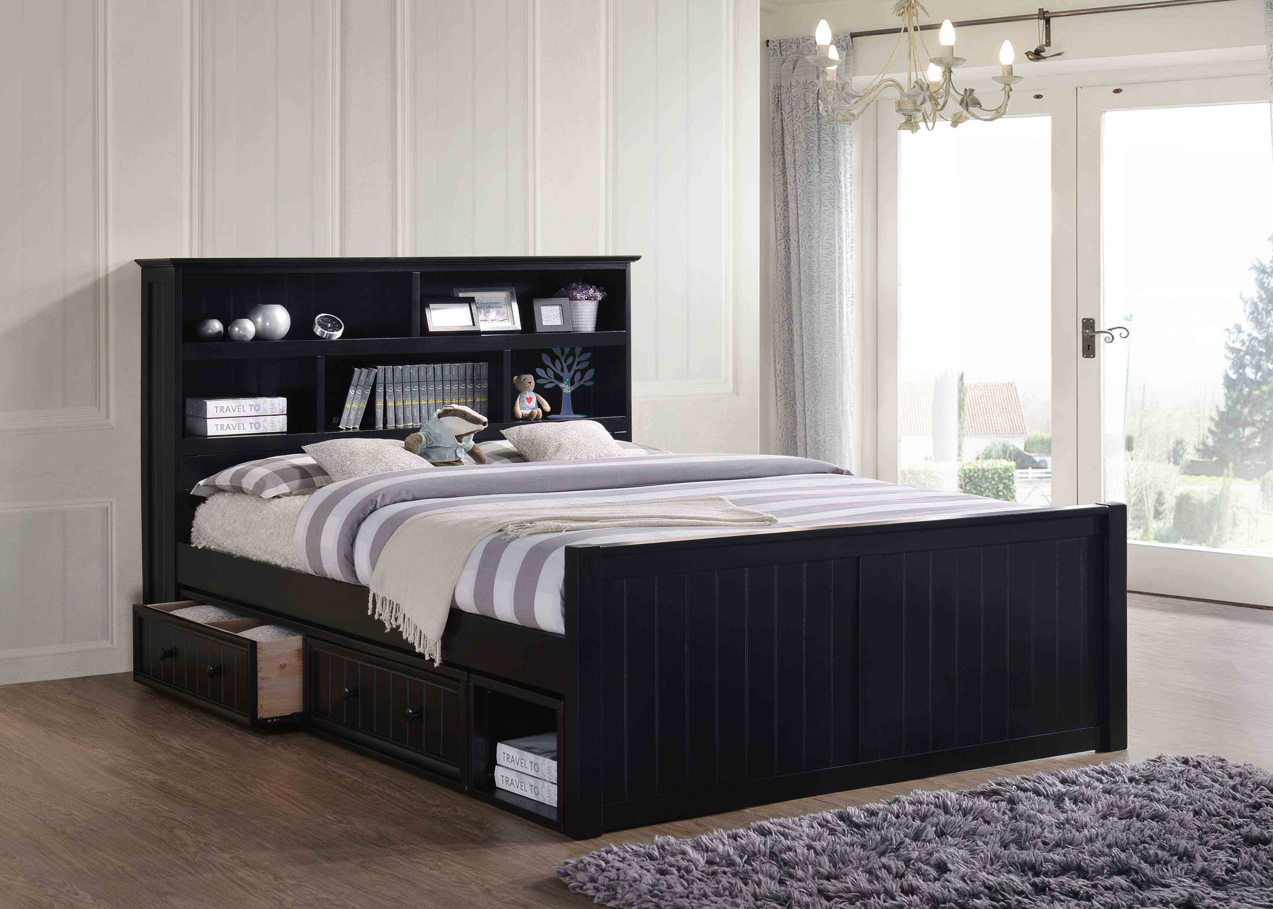 Dillon Queen Bookcase Captain S Bed With 2 To 4 Storage Drawers